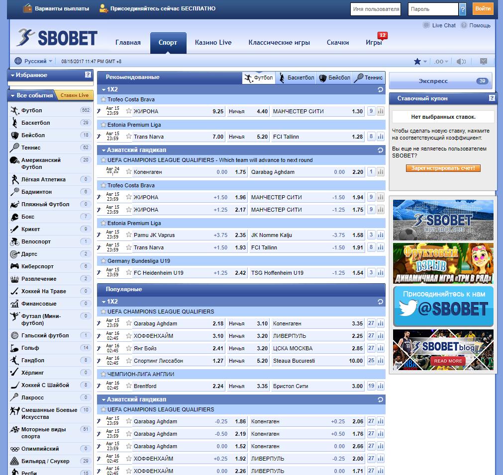 БК Sbobet: линия роспись, коэффициенты